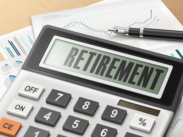 calculator with the word retirement